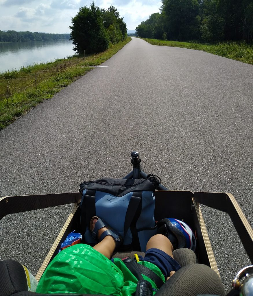 Cargo bike trip ciclabile Danubio, Donau cycling path